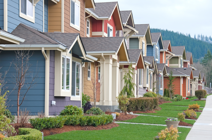 View of new homes in row